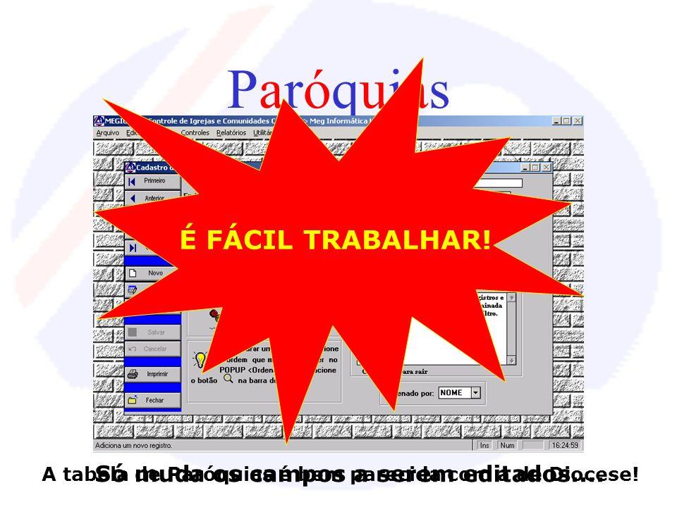 Barra de Ferramentas Com a apresentação da Barra de Ferramentas no slide anterior (Dioceses), agora você sabe em relação a TODAS as outras tabelas: 1-