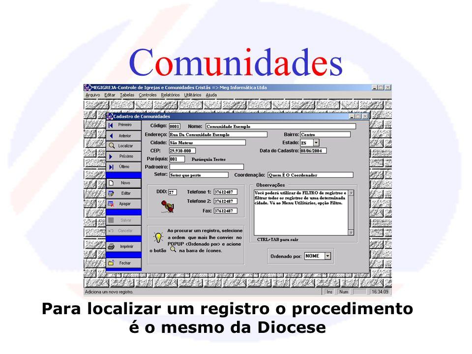 ParóquiasParóquias A tabela de Paróquias é bem parecida com a de Diocese! Só muda os campos a serem editados.... É FÁCIL TRABALHAR!