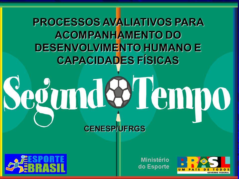 PROCESSOS AVALIATIVOS PARA ACOMPANHAMENTO DO DESENVOLVIMENTO HUMANO E CAPACIDADES FÍSICAS CENESP/UFRGS CENESP/UFRGS Ministério do Esporte