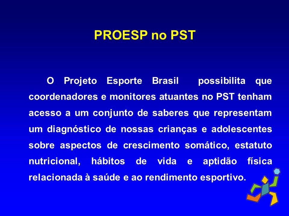 PROESP no PST O Projeto Esporte Brasil possibilita que coordenadores e monitores atuantes no PST tenham acesso a um conjunto de saberes que representa