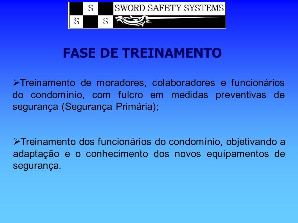 FASE DE TREINAMENTO Treinamento de moradores, colaboradores e funcionários do condomínio, com fulcro em medidas preventivas de segurança (Segurança Pr