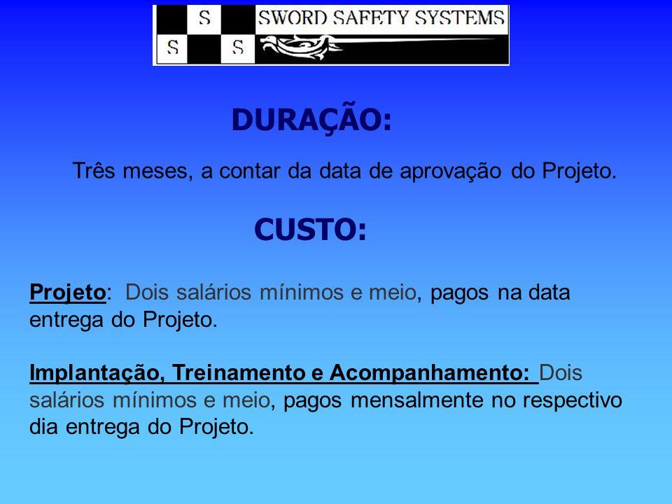 DURAÇÃO: Três meses, a contar da data de aprovação do Projeto. CUSTO: Projeto: Dois salários mínimos e meio, pagos na data entrega do Projeto. Implant