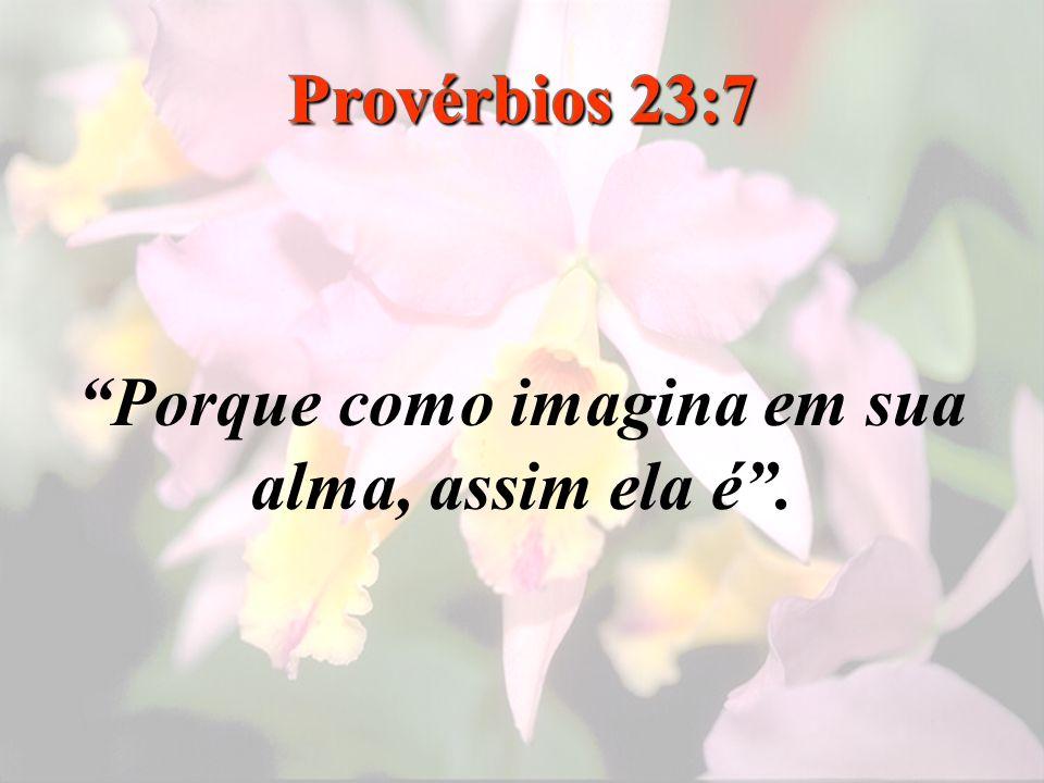 Provérbios 23:7 Porque como imagina em sua alma, assim ela é.
