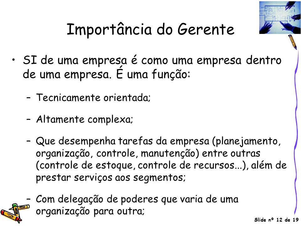 Slide nº 12 de 19 Importância do Gerente SI de uma empresa é como uma empresa dentro de uma empresa. É uma função: –Tecnicamente orientada; –Altamente