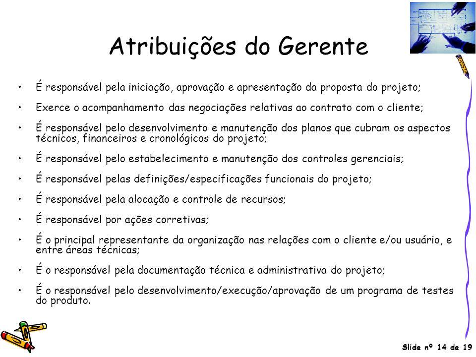 Slide nº 14 de 19 Atribuições do Gerente É responsável pela iniciação, aprovação e apresentação da proposta do projeto; Exerce o acompanhamento das ne