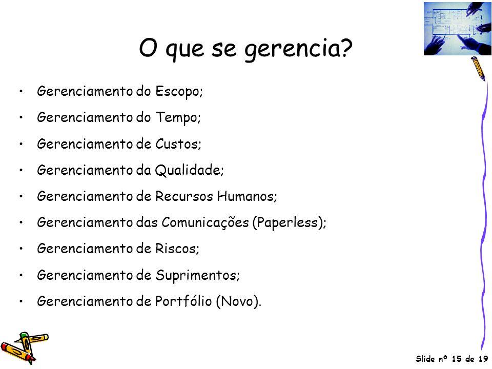 Slide nº 15 de 19 O que se gerencia? Gerenciamento do Escopo; Gerenciamento do Tempo; Gerenciamento de Custos; Gerenciamento da Qualidade; Gerenciamen