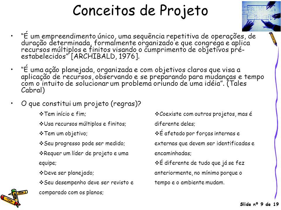 Slide nº 9 de 19 Conceitos de Projeto É um empreendimento único, uma sequência repetitiva de operações, de duração determinada, formalmente organizado