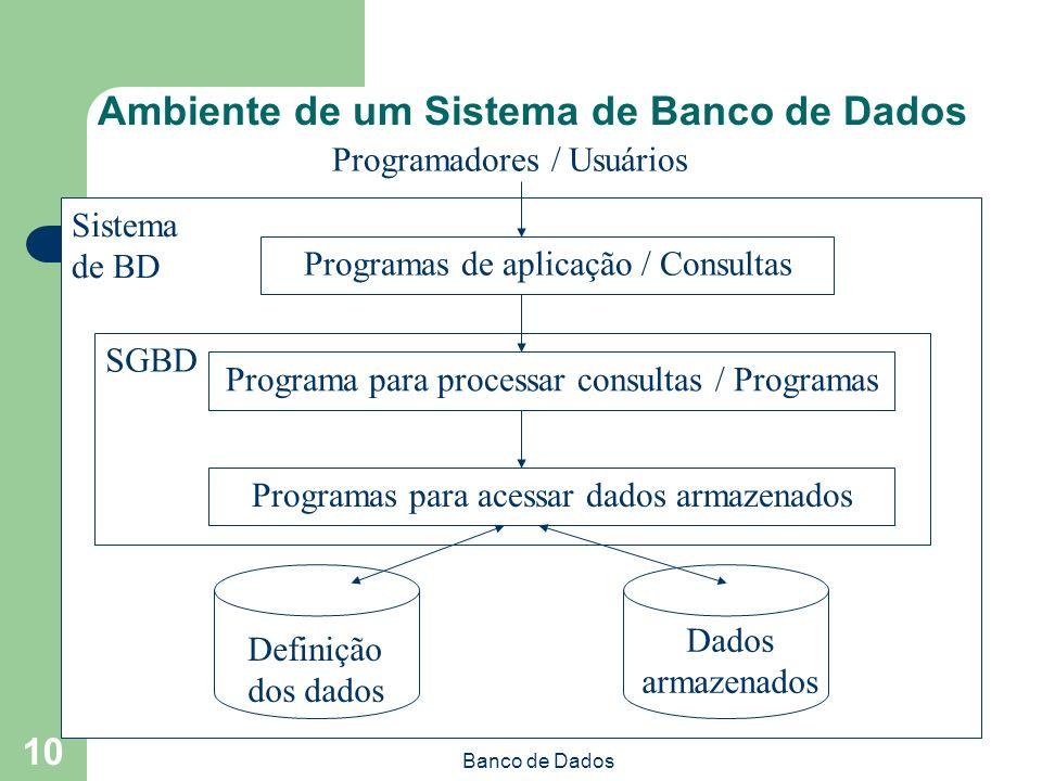 Banco de Dados 10 Programadores / Usuários Sistema de BD Programas de aplicação / Consultas SGBD Programa para processar consultas / Programas Programas para acessar dados armazenados Definição dos dados Dados armazenados Ambiente de um Sistema de Banco de Dados