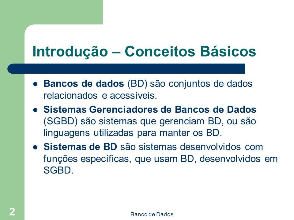 Banco de Dados 2 Introdução – Conceitos Básicos Bancos de dados (BD) são conjuntos de dados relacionados e acessíveis.