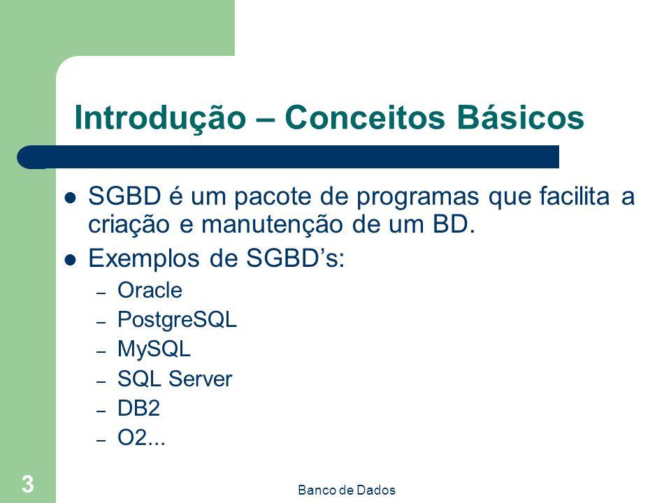 Banco de Dados 3 Introdução – Conceitos Básicos SGBD é um pacote de programas que facilita a criação e manutenção de um BD.