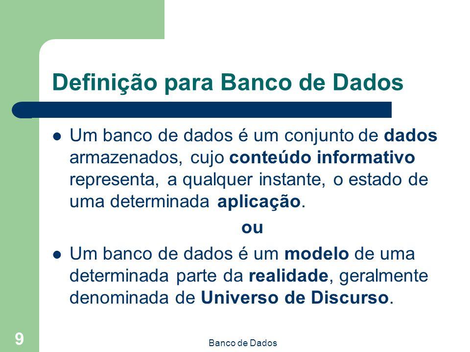 Banco de Dados 9 Definição para Banco de Dados Um banco de dados é um conjunto de dados armazenados, cujo conteúdo informativo representa, a qualquer instante, o estado de uma determinada aplicação.