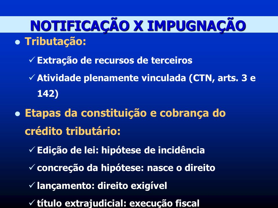 NOTIFICAÇÃO X IMPUGNAÇÃO Tributação: Extração de recursos de terceiros Atividade plenamente vinculada (CTN, arts.