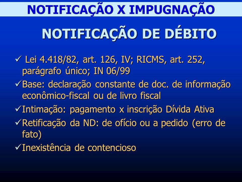 NOTIFICAÇÃO X IMPUGNAÇÃO NOTIFICAÇÃO DE DÉBITO Lei 4.418/82, art.
