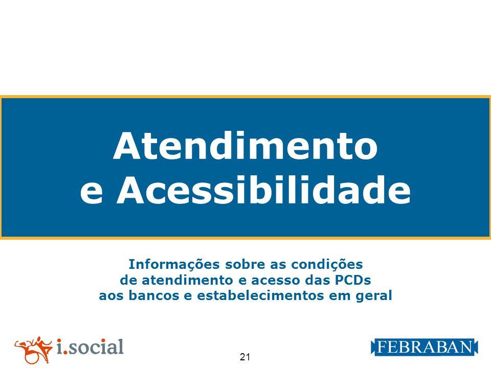 21 Atendimento e Acessibilidade Informações sobre as condições de atendimento e acesso das PCDs aos bancos e estabelecimentos em geral