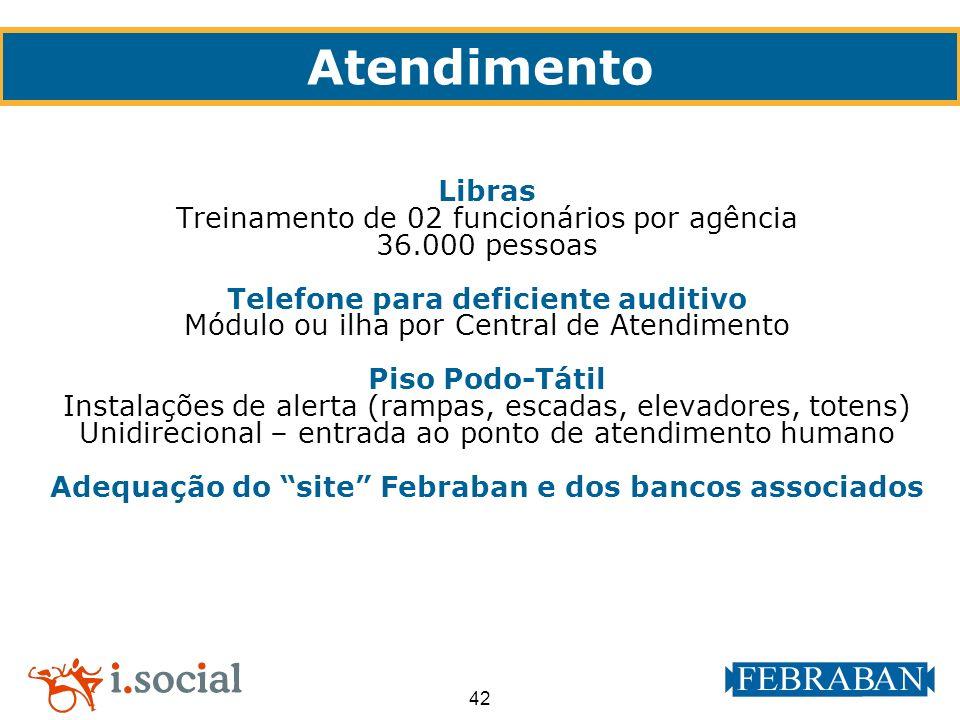 42 Atendimento Libras Treinamento de 02 funcionários por agência 36.000 pessoas Telefone para deficiente auditivo Módulo ou ilha por Central de Atendi
