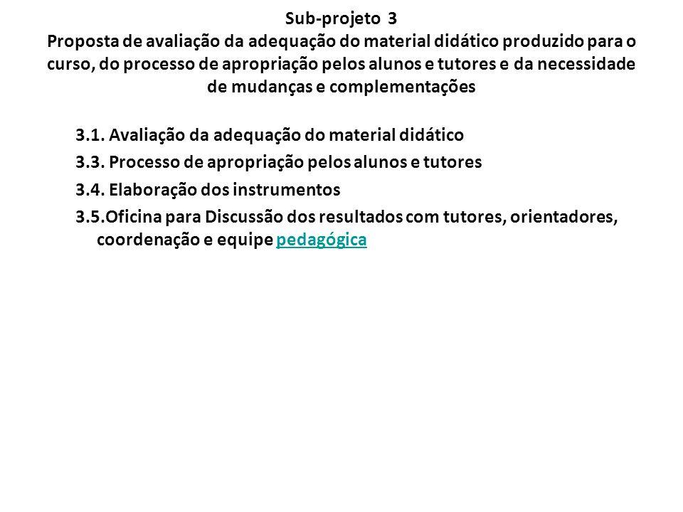 Sub-projeto 3 Proposta de avaliação da adequação do material didático produzido para o curso, do processo de apropriação pelos alunos e tutores e da n