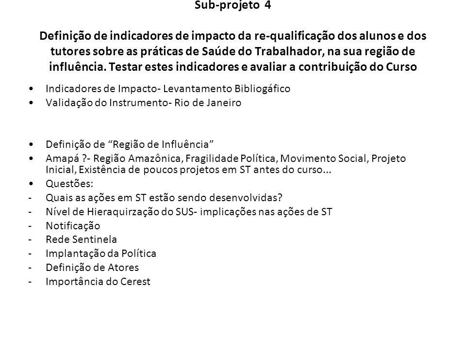 Sub-projeto 4 Definição de indicadores de impacto da re-qualificação dos alunos e dos tutores sobre as práticas de Saúde do Trabalhador, na sua região
