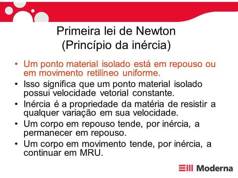 Primeira lei de Newton (Princípio da inércia) Um ponto material isolado está em repouso ou em movimento retilíneo uniforme. Isso signica que um ponto
