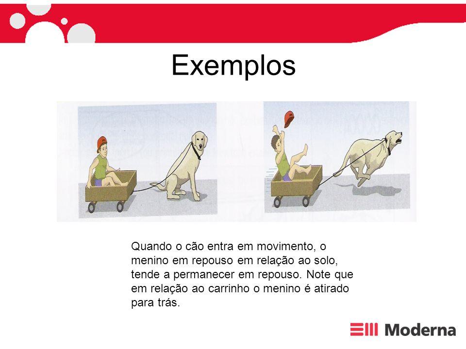 Exemplos Quando o cão entra em movimento, o menino em repouso em relação ao solo, tende a permanecer em repouso. Note que em relação ao carrinho o men