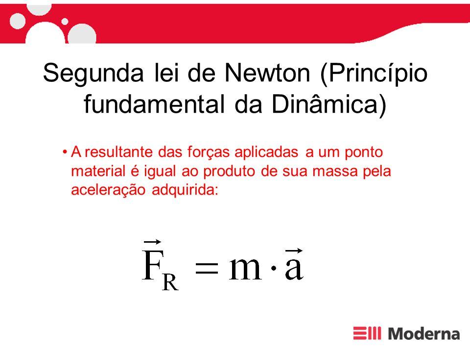 Segunda lei de Newton (Princípio fundamental da Dinâmica) A resultante das forças aplicadas a um ponto material é igual ao produto de sua massa pela a
