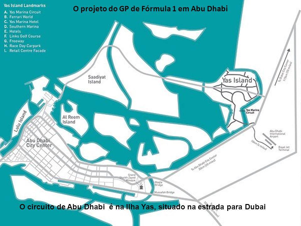 O projeto da ilha Yas: circuito, museu da Ferrari (vermelho) e parque de Warner Bros