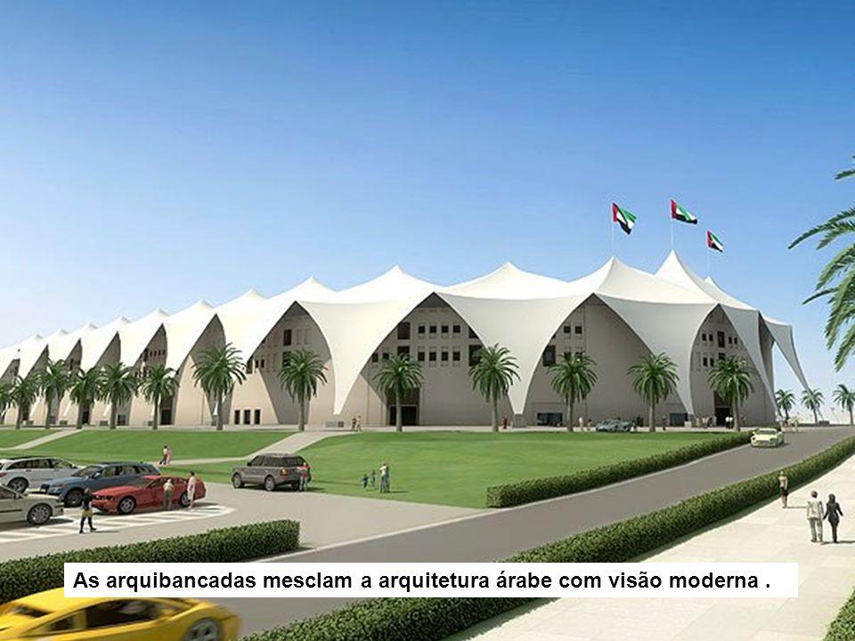 As arquibancadas mesclam a arquitetura árabe com visão moderna.