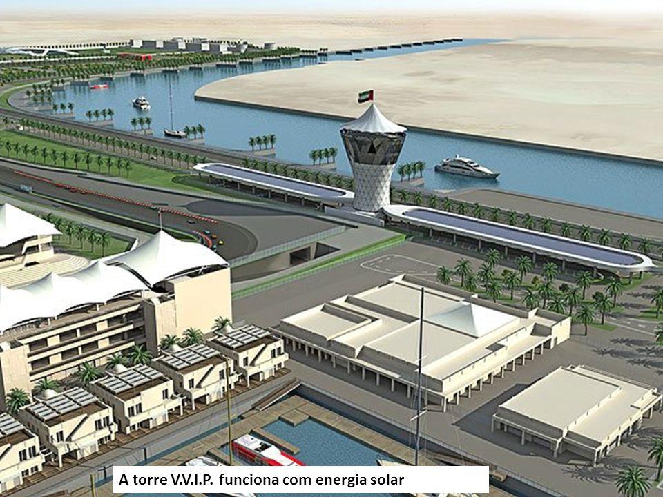 A torre V.V.I.P. funciona com energia solar