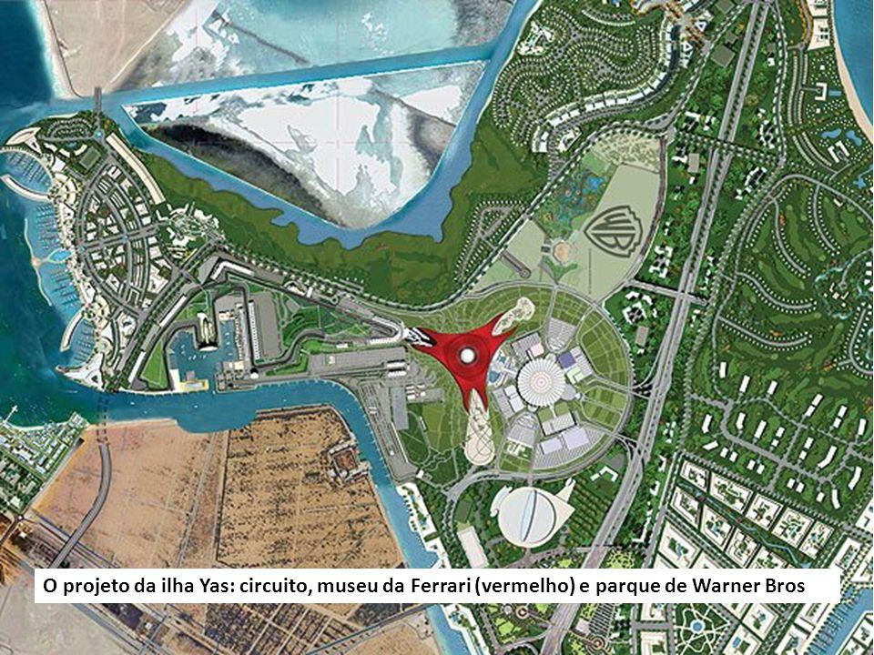 Vista aérea do circuito, a pista passa dentro do Hotel Yas Marina.