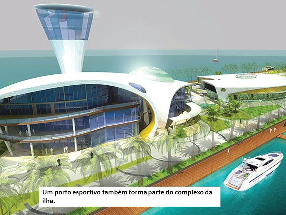 Um porto esportivo também forma parte do complexo da ilha.