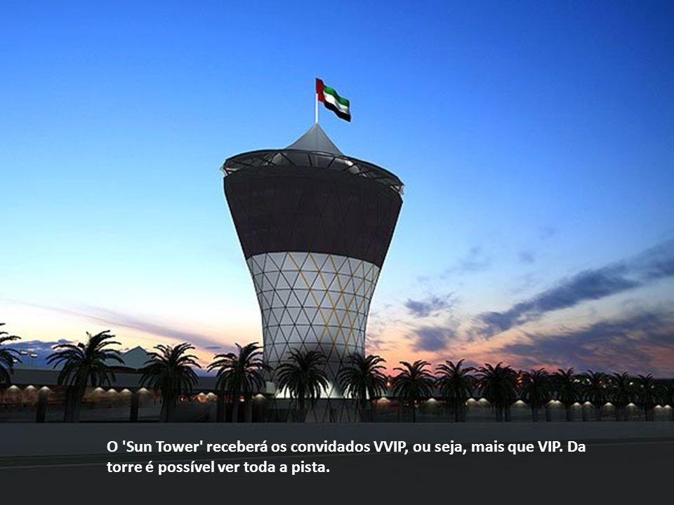 O 'Sun Tower' receberá os convidados VVIP, ou seja, mais que VIP. Da torre é possível ver toda a pista.