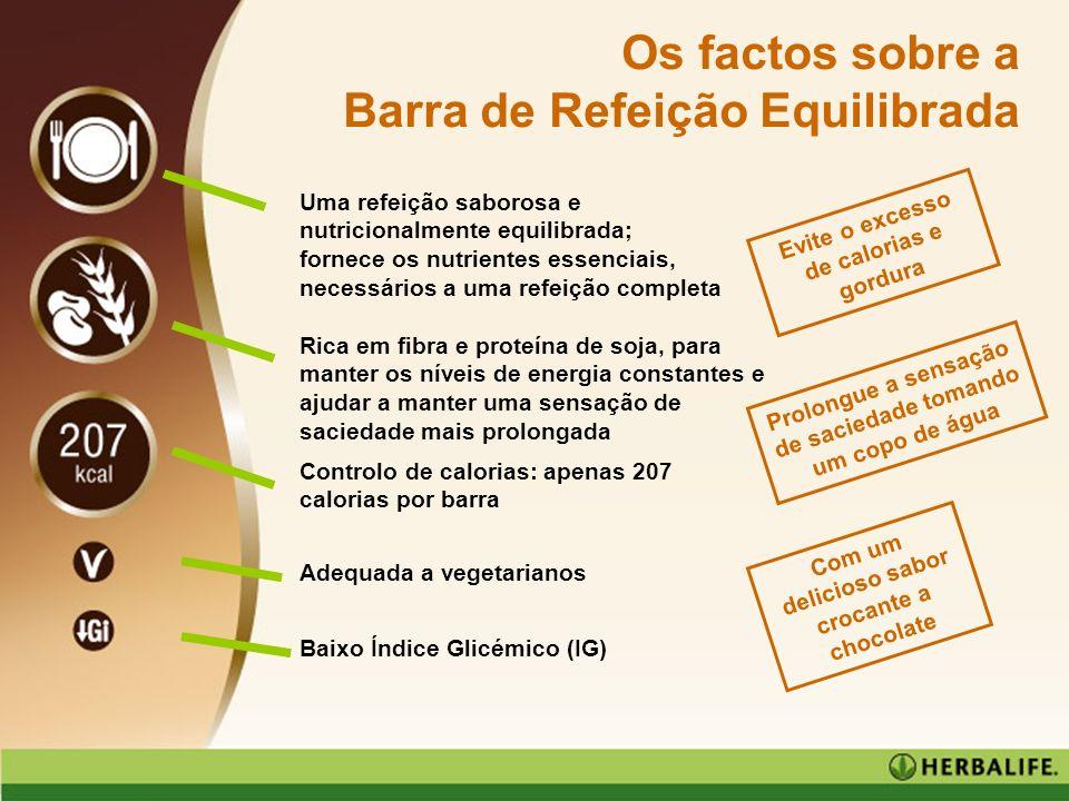 www.casadanutricao.com Os factos sobre a Barra de Refeição Equilibrada Uma refeição saborosa e nutricionalmente equilibrada; fornece os nutrientes ess