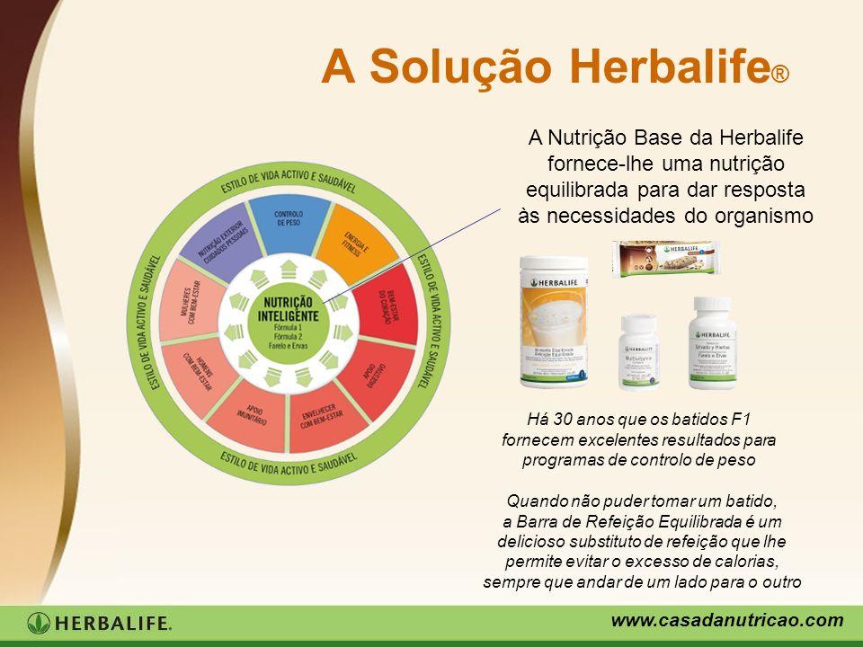www.casadanutricao.com A Solução Herbalife ® A Nutrição Base da Herbalife fornece-lhe uma nutrição equilibrada para dar resposta às necessidades do or