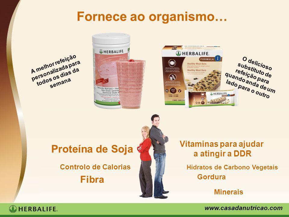 www.casadanutricao.com Fornece ao organismo… Proteína de Soja Controlo de Calorias Vitaminas para ajudar a atingir a DDR Hidratos de Carbono Vegetais