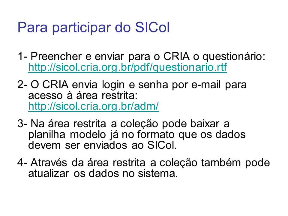 Para participar do SICol 1- Preencher e enviar para o CRIA o questionário: http://sicol.cria.org.br/pdf/questionario.rtf http://sicol.cria.org.br/pdf/