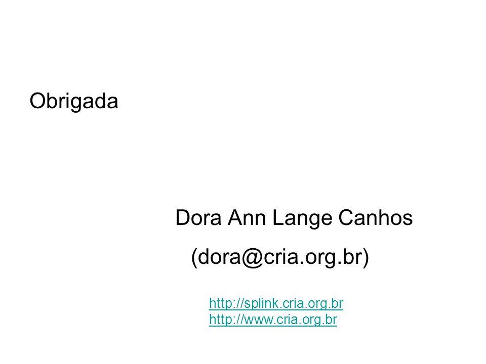 Obrigada Dora Ann Lange Canhos (dora@cria.org.br) http://splink.cria.org.br http://www.cria.org.br
