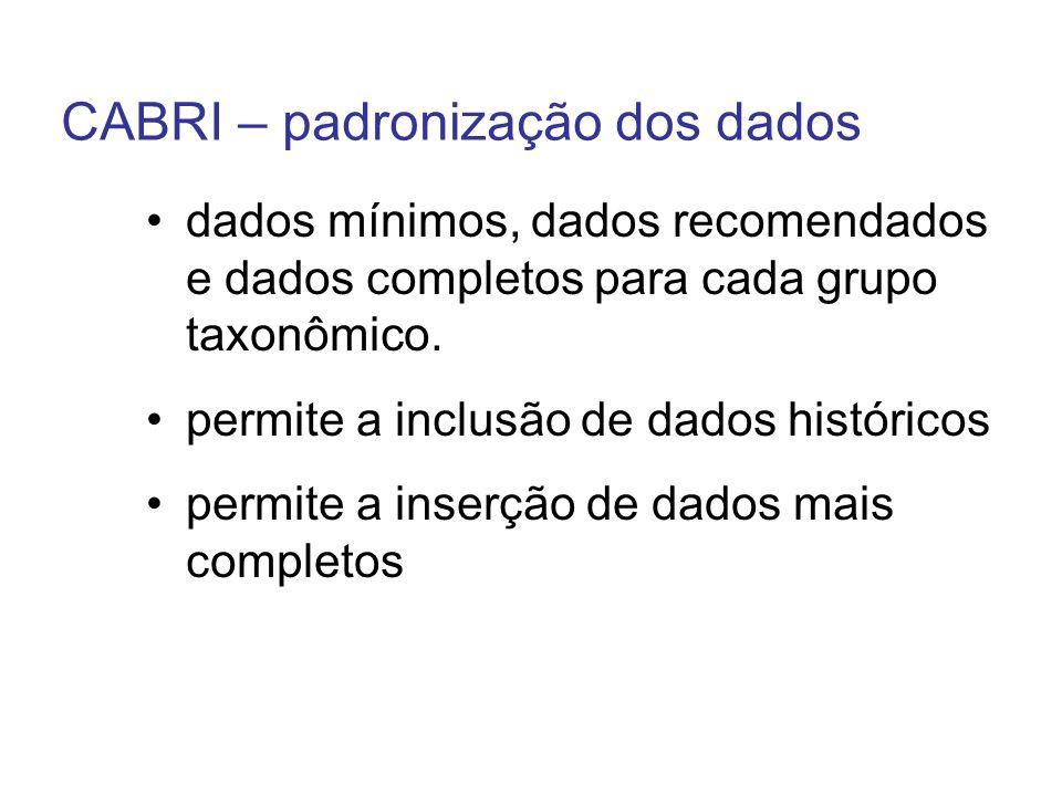 CABRI – padronização dos dados dados mínimos, dados recomendados e dados completos para cada grupo taxonômico. permite a inclusão de dados históricos