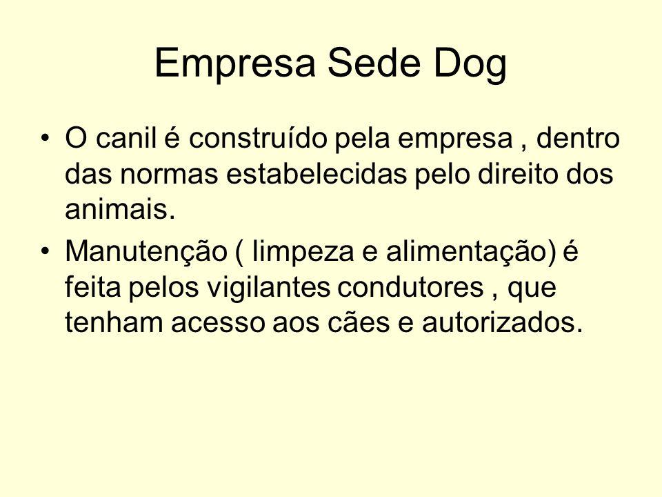 Empresa Sede Dog O canil é construído pela empresa, dentro das normas estabelecidas pelo direito dos animais. Manutenção ( limpeza e alimentação) é fe