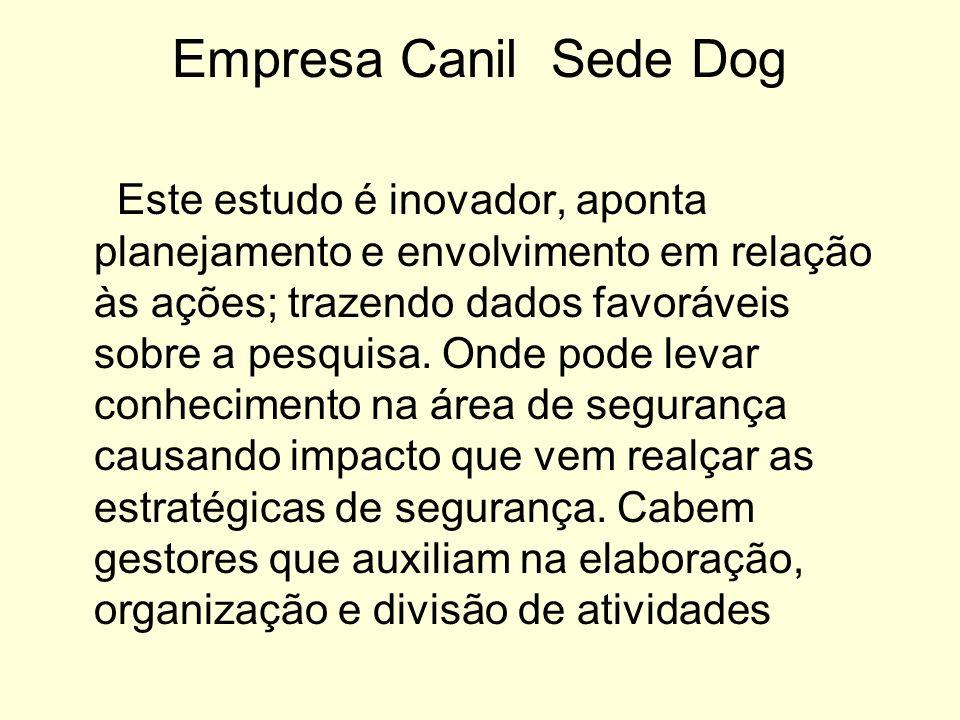 Empresa Canil Sede Dog Este estudo é inovador, aponta planejamento e envolvimento em relação às ações; trazendo dados favoráveis sobre a pesquisa. Ond