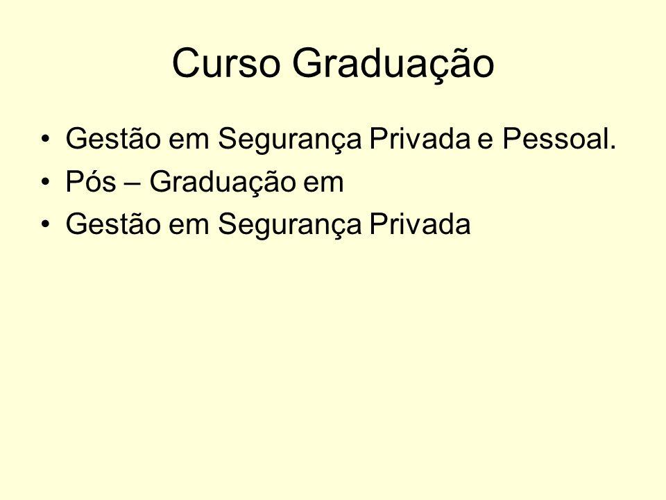 Curso Graduação Gestão em Segurança Privada e Pessoal. Pós – Graduação em Gestão em Segurança Privada