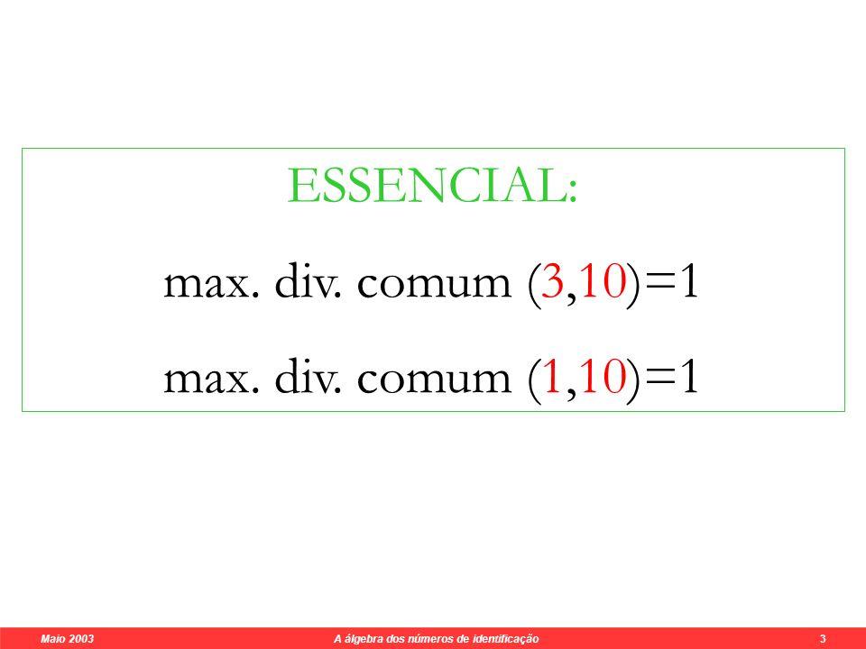 Maio 2003 A álgebra dos números de identificação 3 Os testes de qualidade garantem: poderão ocorrer quando muito erros singulares (um algarismo errado) 5 6 0 1 1 9 9 0 7 7 6 7 7 x3x3 3 + 7 + 15 X3X3 = 25 3x (7-2) 3 + 7 = 10