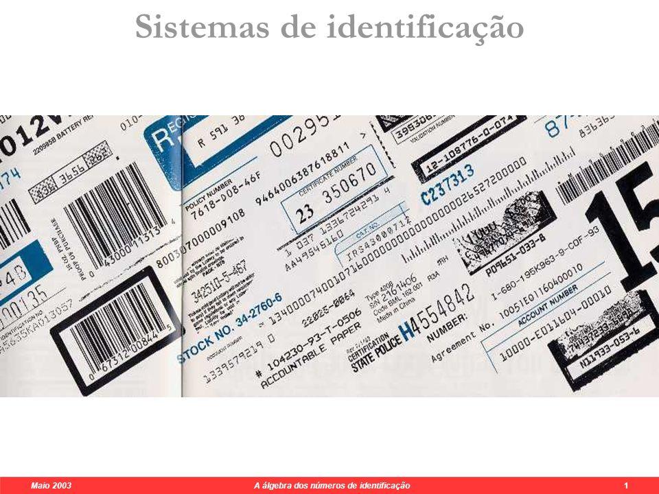 Maio 2003 A álgebra dos números de identificação 6 Sistema do BI foi COPIADO do ISBN a 1 {0,1,2,3,4,5,6,7,8,9} {X} Disparate.