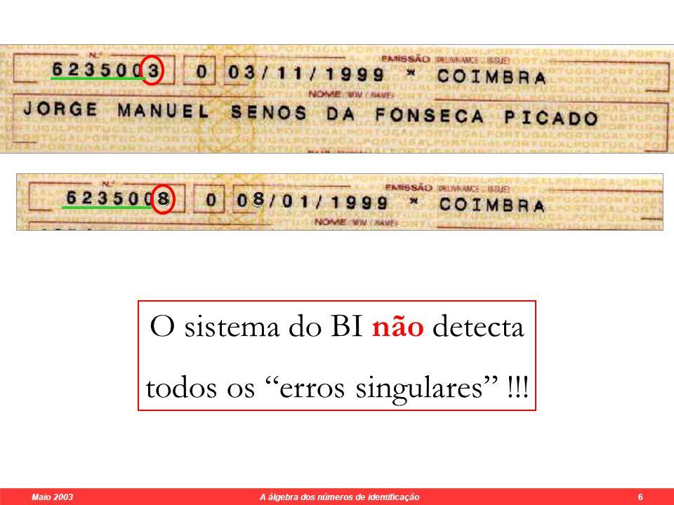 Maio 2003 A álgebra dos números de identificação 6 6 2 3 5 0 0 3 0 x8 x7 x6 x5 x4 x3 x2 x1 111101