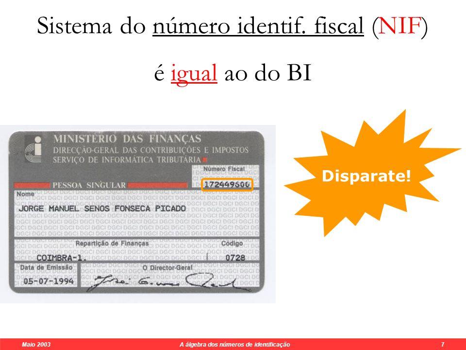 Maio 2003 A álgebra dos números de identificação 6 O sistema do BI não detecta todos os erros singulares !!.