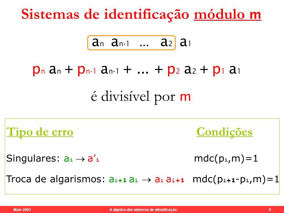 Maio 2003 A álgebra dos números de identificação 8 Os matemáticos criaram métodos muito eficientes.