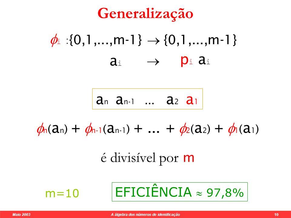 Maio 2003 A álgebra dos números de identificação 9 Sistemas de identificação módulo m Tipo de erro Condições Singulares: a ia i mdc(p i,m)=1 Troca de algarismos: a i +1 a i a i a i +1 mdc(p i +1 -p i,m)=1 a n a n-1...