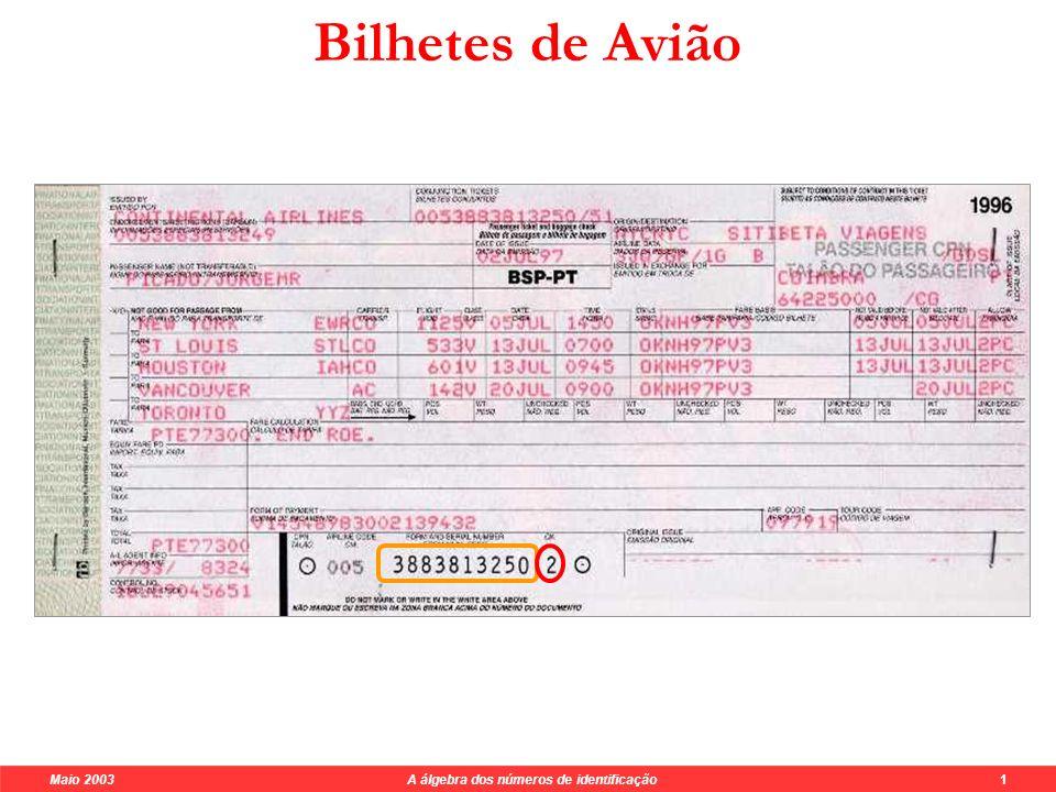 Maio 2003 A álgebra dos números de identificação 1 Bilhetes de Avião