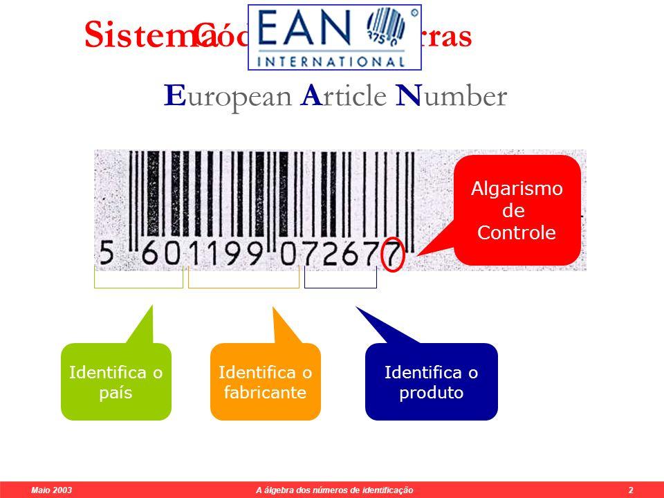 Maio 2003 A álgebra dos números de identificação 10 Generalização n ( a n ) + n-1 ( a n-1 ) +...