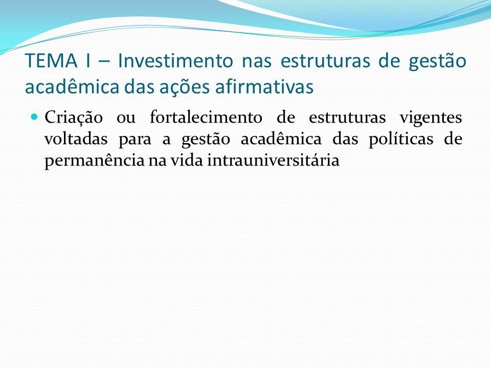 TEMA I – Investimento nas estruturas de gestão acadêmica das ações afirmativas Criação ou fortalecimento de estruturas vigentes voltadas para a gestão acadêmica das políticas de permanência na vida intrauniversitária
