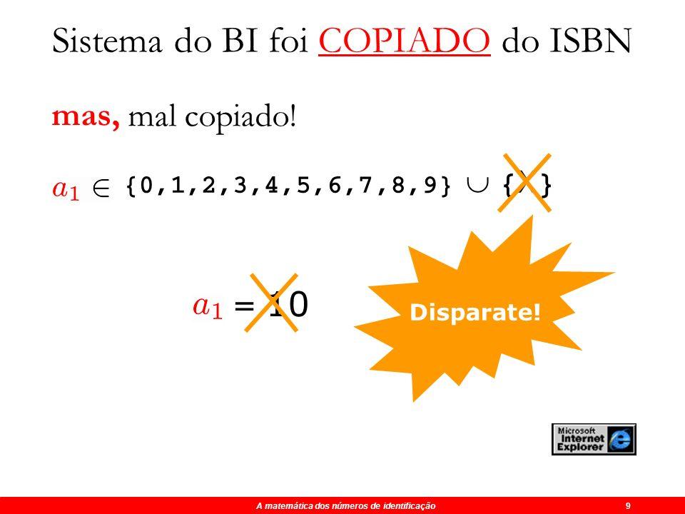 Maio 2003 O algarismo misterioso do BI 8 6 2 3 5 0 0 8 ? x 8 x 7 x 6 x 5 x 4 x 3 x 2 x 1 Sistema do BI foi COPIADO do ISBN 48 14 18 25 0 0 16 ? 121 +