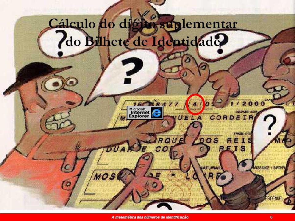 Maio 2004 A matemática dos números de identificação FIM A matemática dos números de identificação 0 Cálculo do dígito suplementar do Bilhete de Identidade